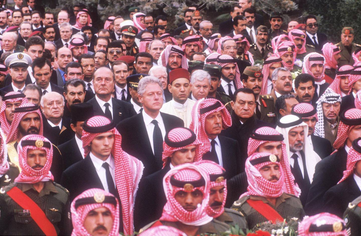 346480 12: President Clinton joins the funeral procession of King Hussein February 8, 1999 in Amman, Jordan. There were more than 40 kings, presidents, prime ministers, and other leaders, and an estimated 800,000 Jordanians arriving to pay their respects to the Middle East peace leader. (Photo by Scott Peterson/Liaison)