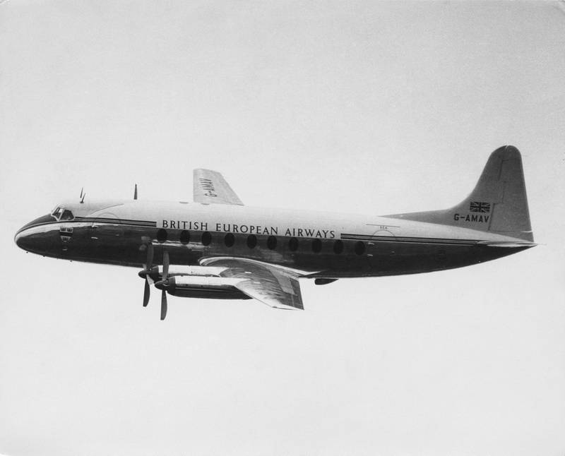 The Vickers-Armstrongs Vickers Viscount 700 prototype  medium-range commercial turboprop airliner for British European Airways (BEA) registration G-AMAV flying somewhere above the United Kingdom on18 April 1953.  (Photo by Central Press/Hulton Archive/Getty Images).
