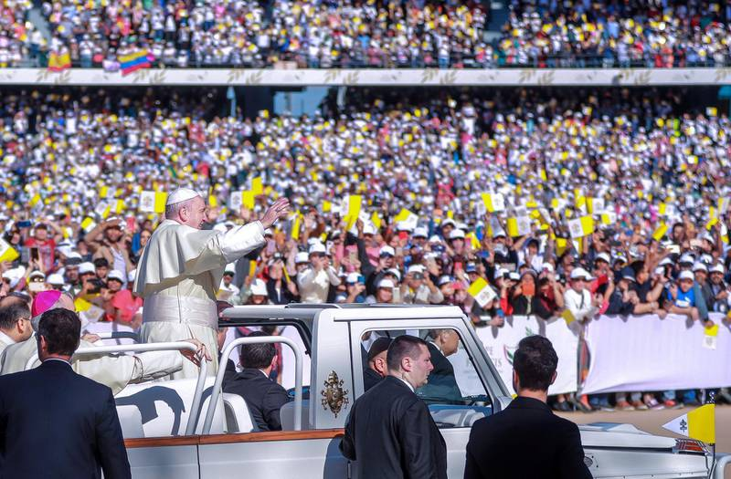 Abu Dhabi, U.A.E., February 5, 2019.   His Holiness Pope Francis, Head of the Catholic Church arrives at the Zayed Sports City.Victor Besa/The NationalSection:  NA