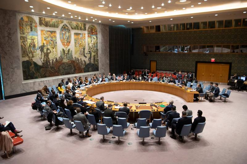 epa07468135 A handout photo made available by the United Nations (UN) shows a wide view of the Security Council meeting on the situation in the Middle East (Syria), in New York, New York, USA, 27 March 2019 (issued 28 March 2019). The Security Council met on 27 March at the request of Syria following the US decision to recognize Israel's sovereignty over the Golan Heights in violation of international law.  EPA/UN PHOTO/ESKINDER DEBEBE HANDOUT  HANDOUT EDITORIAL USE ONLY/NO SALES