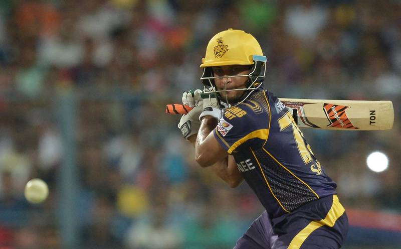 Kolkata Knight Riders batsman Shakib Al Hasan plays a shot during the 2016 Indian Premier League (IPL) Twenty20 cricket match between Kolkata Knight Riders and Gujarat Lions at The Eden Gardens Cricket Stadium in Kolkata on May 8, 2016./ GETTYOUT / ----IMAGE RESTRICTED TO EDITORIAL USE - STRICTLY NO COMMERCIAL USE----- / GETTYOUT (Photo by Dibyangshu SARKAR / AFP)