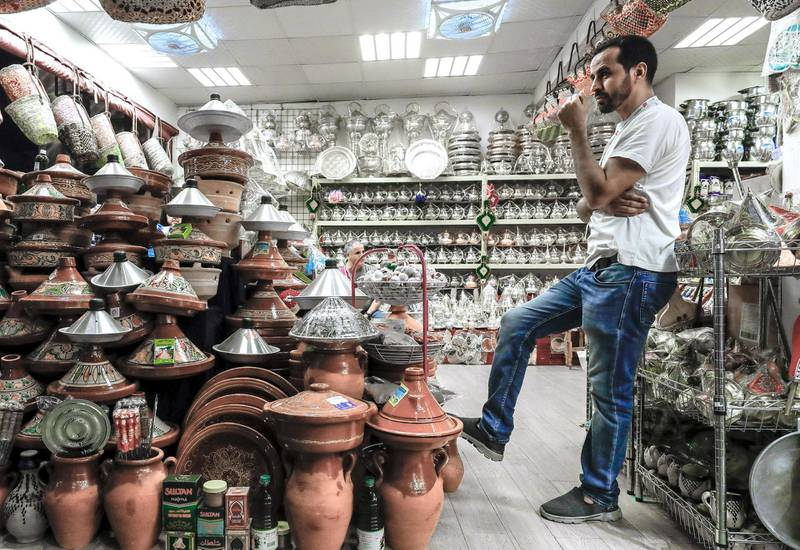 Abu Dhabi, United Arab Emirates, January 5, 2020.  Photo essay of Global Village.--   A Moroccan kitchenware shop at the Morocco Pavillion.Victor Besa / The NationalSection:  WKReporter:  Katy Gillett