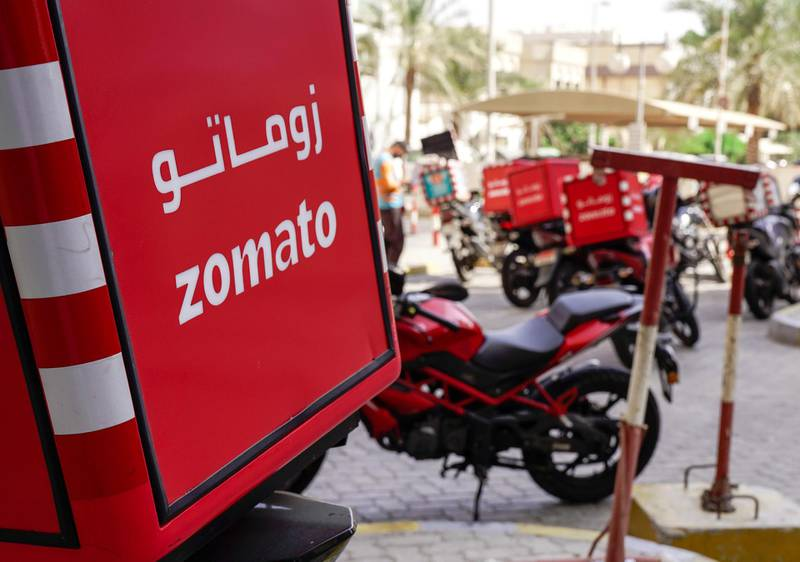 Abu Dhabi, United Arab Emirates, November 1, 2019, 2019.   Stock Images.-- Zomato motorcycles parked outside Al Wahda Mall.Victor Besa/The NationalSection:  NAFOR:  Olive Obina