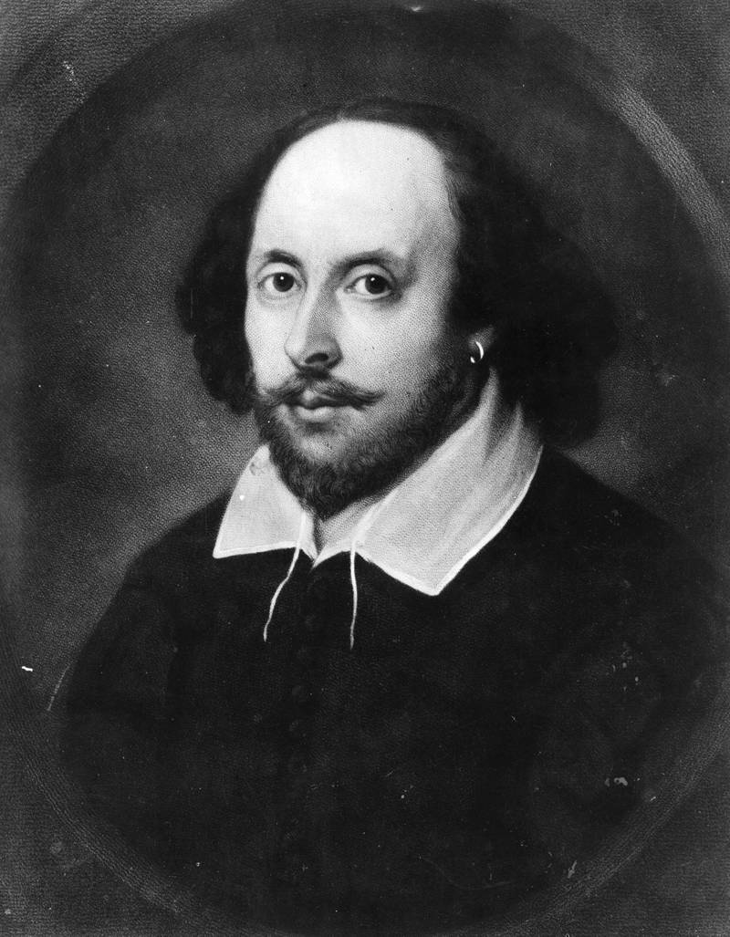 The English poet and dramatist, William Shakespeare (1564 - 1616), circa 1610. Painting known as the 'Chandos portrait'   (Photo by Hulton Archive/Getty Images)