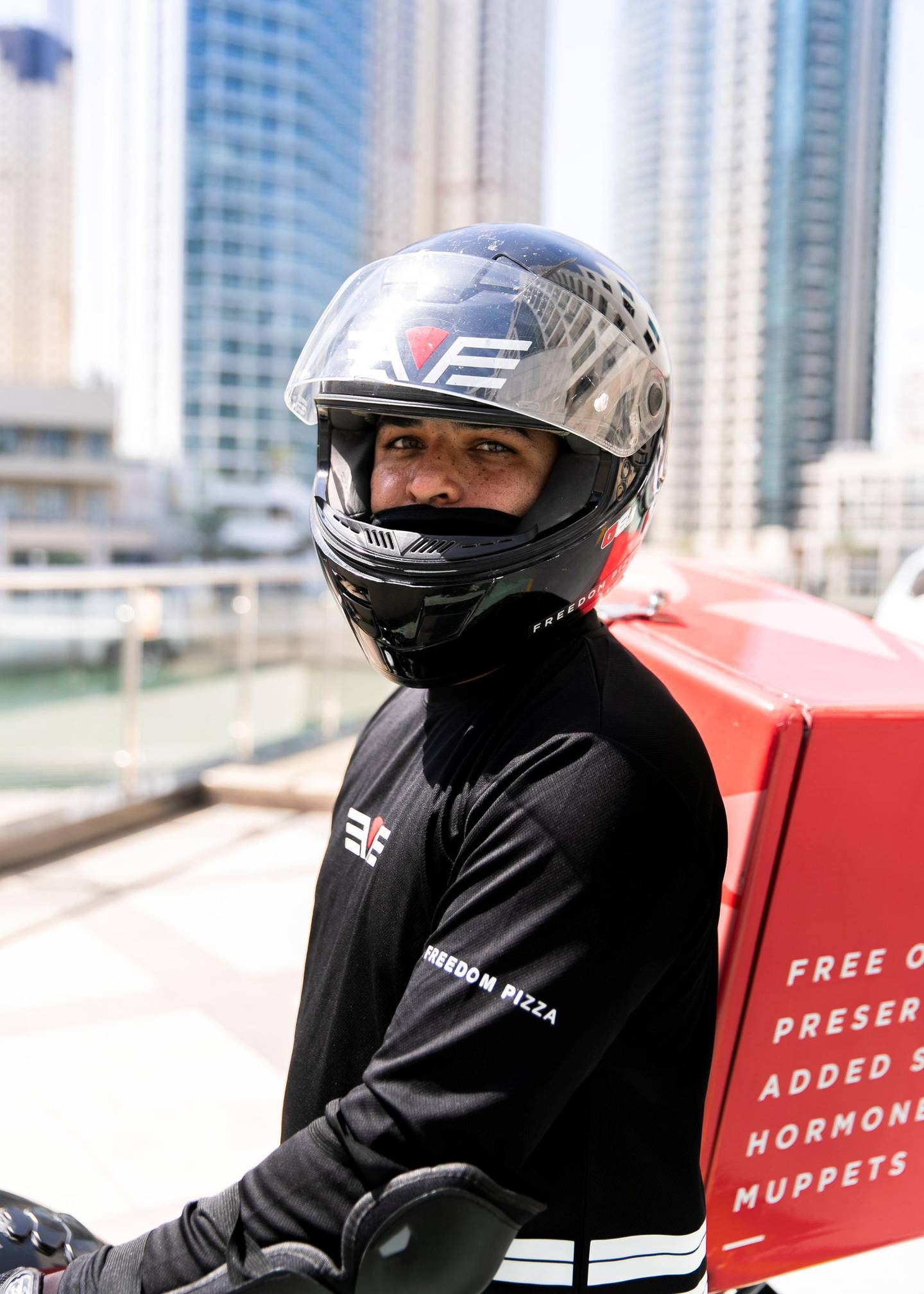 DUBAI, UNITED ARAB EMIRATES. 14 MAY 2020. Rakesh Kumar, bike delivery rider at Freedom Pizza(Photo: Reem Mohammed/The National)Reporter:Section: