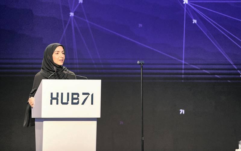 Abu Dhabi, United Arab Emirates - Elham Al Qasim, Acting CEO of Abu Dhabi Investment Office speaks at the launch of Hub71 at Rosewood Hotel, Al Maryah Island. Khushnum Bhandari for The National