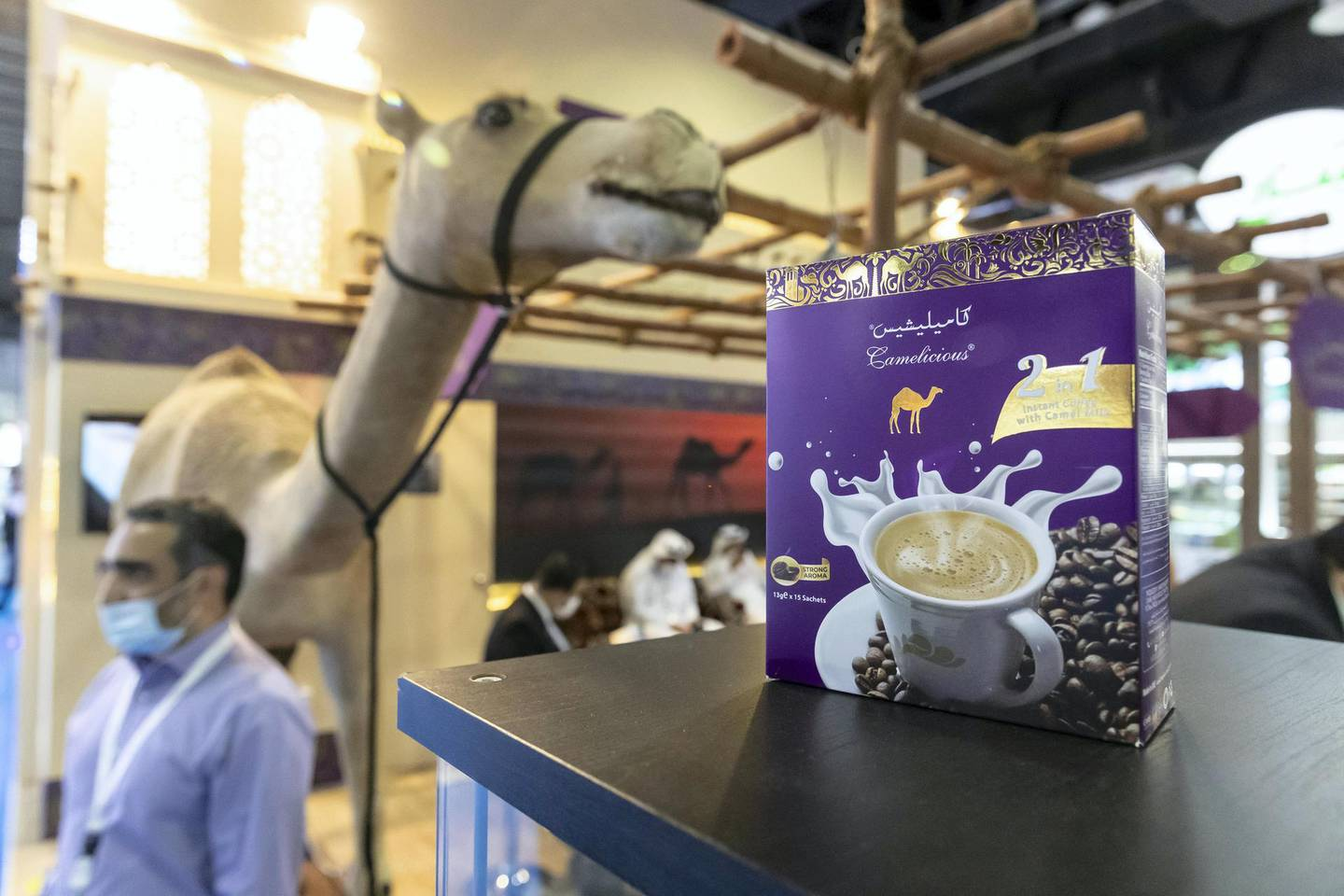 DUBAI, UNITED ARAB EMIRATES. 23 FEBRUARY 2021. Gulffood Exhibition at the Dubai World Trade Center. Instant coffee with Camel Milk powder product. (Photo: Antonie Robertson/The National) Journalist: Janice Rodriquez. Section: National.
