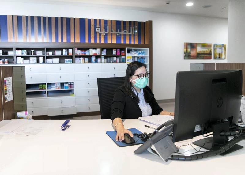 DUBAI, UNITED ARAB EMIRATES. 24 JUNE 2020. Pharmacy counter at King's College Hospital.(Photo: Reem Mohammed/The National)Reporter:Section: