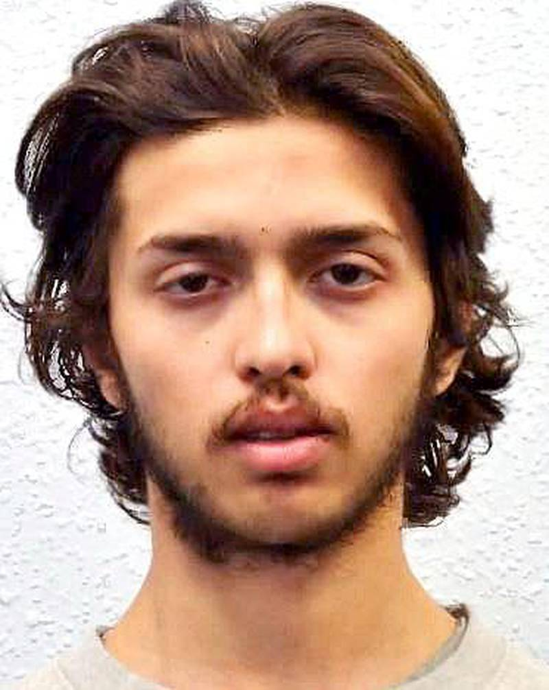 """Undated handout photo issued by the Metropolitan Police of Sudesh Amman. Police in London say a man who strapped on a fake bomb and stabbed two people on a London street before being shot to death by police was recently released from prison, where he was serving for terrorism offenses. Deputy Assistant Commissioner Lucy D'Orsi said police are """"confident"""" the attacker was 20-year-old Sudesh Amman. (Metropolitan Police via AP)"""