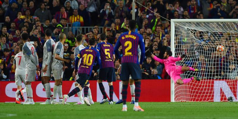 BARCELONA, SPAIN - MAY 01: (THE SUN OUT, THE SUN ON SUNDAY OUT) Lionel Messi of Barcelona scoring a free kick during the UEFA Champions League Semi Final first leg match between Barcelona and Liverpool at the Nou Camp on May 01, 2019 in Barcelona, Spain. (Photo by John Powell/Liverpool FC via Getty Images)