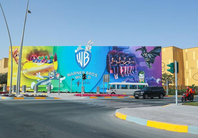 Abu Dhabi, United Arab Emirates, March 2, 2021.   Stock images of Yas residential areas.Warner Bros. World Abu Dhabi billboard.Victor Besa / The NationalSection:  NA