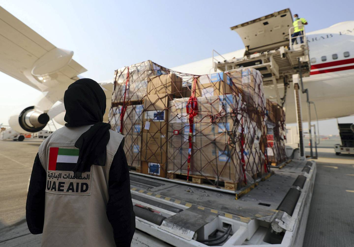 Dubai, United Arab Emirates - Reporter: Kelly Clarke. Aid is loaded up on a plane to Lebanon at Dubai airport to support Beirut after the explosion. Wednesday, August 5th, 2020. Dubai. Chris Whiteoak / The National