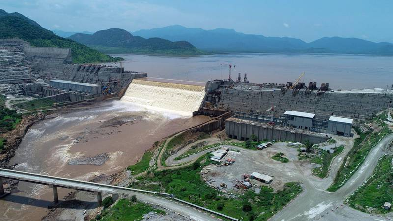 20 July 2020, Ethiopia, Bameza: The overview shows the Grand Ethiopian Renaissance Dam. The future largest dam in Africa has been the cause of dispute between Ethiopia, Egypt and Sudan for years. The countries have now overcome a major hurdle: The reservoir has been filled. But the problem is far from being solved. Water will become increasingly scarce worldwide in the future - and tensions over water resources such as the Nile will rise. Photo by: Yirga Mengistu/picture-alliance/dpa/AP Images