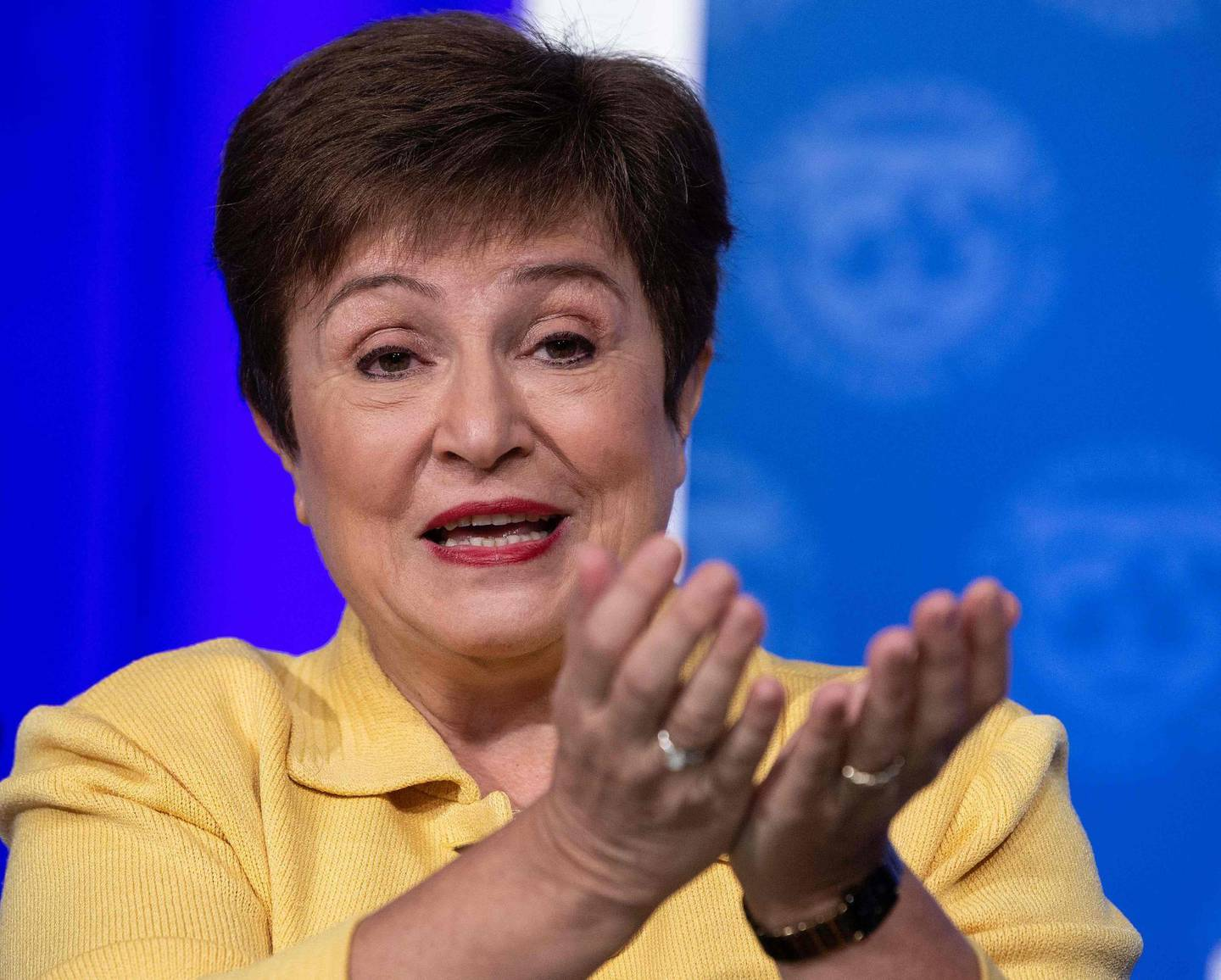 (FILES) In this file photo taken on March 04, 2020, IMF Managing Director Kristalina Georgieva speaks at a press briefing on Covid-19 in Washington, DC. African countries will need $1.2 trillion through 2023 to repair the economic damage inflicted by the coronavirus pandemic, Georgieva said on October 9, 2020. / AFP / NICHOLAS KAMM