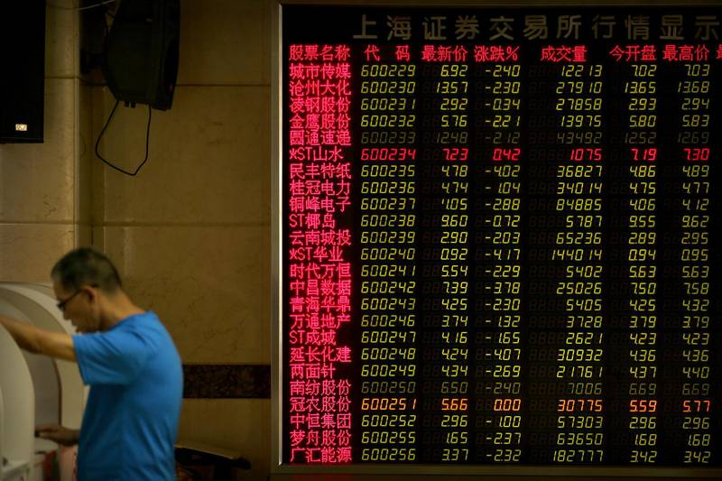 A Chinese investor uses a computer terminal as he monitors stock prices at a brokerage house in Beijing, Friday, Aug. 2, 2019. Asian stock markets plunged Friday after President Donald Trump's surprise threat of tariff hikes on additional Chinese imports. (AP Photo/Mark Schiefelbein)