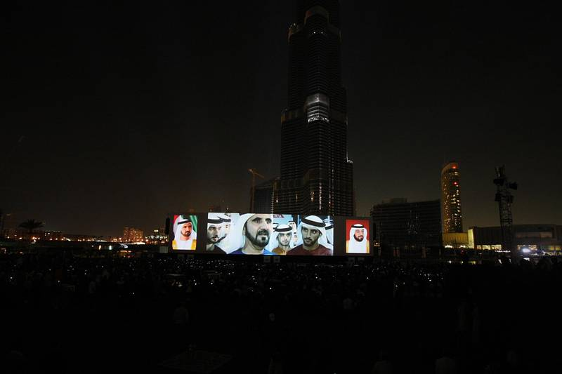 United Arab Emirates- Dubai - January 4, 2010:NATIONAL: Sheikh Mohammed bin Rashid's image is displayed on a big screen during the grand opening of the Burj Khalifa in Dubai on Monday, January 4, 2010. Amy Leang/The National EDITORS NOTE: Building was opened at 8pm on January 4th, 2010 at which point the name changed from Burj Dubai to Burj Khalifa. Official name is now Burj Khalifa *** Local Caption ***  amy_010410_burj_30.jpg