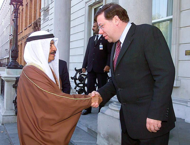 Irish Minister for Foreign Affairs Brian Cowen welcomes Sheikh Khalifa Bin Salman Al-Khalifa, Prime Minister of the Kingdom of Bahrain, on the occasion of his two day official visit to Ireland 02 October 2003. Cowen said he particularly welcomed the decision by Bahrain in the early summer to relax the restrictions on the sales of Irish beef, stating that he hoped that other Gulf States would follow Bahrain. AFP PHOTO/NEWSFILE/FRAN CAFFREY   This picture has been sent to you by: Newsfile Ltd, 3 The View, Millmount Abbey, Drogheda, Co Meath. Ireland. Tel: +353-41-9871240 Fax: +353-41-9871260 GSM: +353-86-2500958 ISDN: +353-41-9871010 IP: 193.120.102.198 www.newsfile.ie  email: pictures#newsfile.ie  This picture has been sent by Fran Caffrey francaffrey#newsfile.ie (Photo by FRAN CAFFREY / NEWSFILE / AFP)