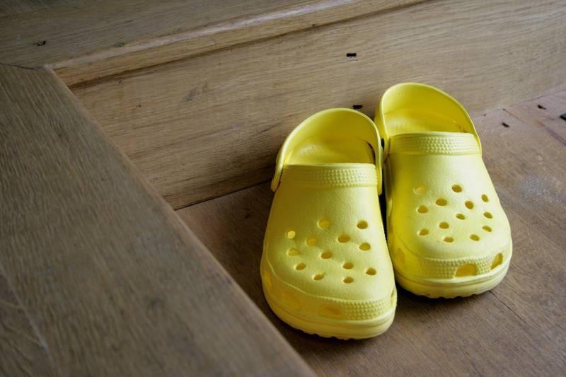 Mandatory Credit: Photo by imageBROKER/Shutterstock (1863947a)Crocs on wooden floorVARIOUS