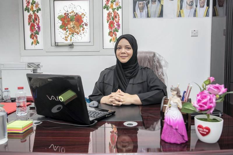 RAS AL KHAIMAH, UNITED ARAB EMIRATES.  JANUARY 2021. Ras al Khaimah match maker, Widad Bu Sittah, known as Umm Mariam, at her small humble office in RAK. (Photo: Antonie Robertson/The National) Journalist: Salam Al Amir . Section: National.