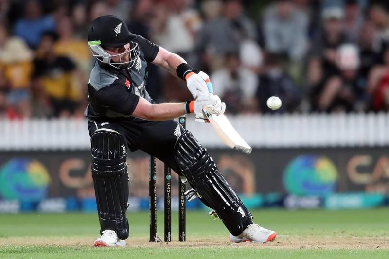 New Zealand's Tim Seifert plays a shot during the second T20 international cricket match between New Zealand and Pakistan at Seddon Park in Hamilton on December 20, 2020.   / AFP / MICHAEL BRADLEY