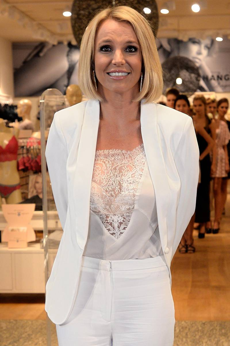 OBERHAUSEN, GERMANY - SEPTEMBER 25:  Britney Spears presents her dessous collection 'The Intimate Collection' at CentrO shopping mall on September 25, 2014 in Oberhausen, Germany.  (Photo by Sascha Steinbach/Getty Images)