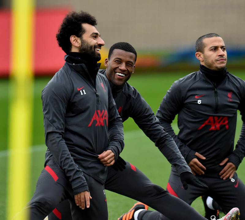 KIRKBY, ENGLAND - DECEMBER 23: (THE SUN OUT, THE SUN ON SUNDAY OUT) Mohamed Salah and Georginio Wijnaldum of Liverpool during a training session at AXA Training Centre on December 23, 2020 in Kirkby, England. (Photo by Andrew Powell/Liverpool FC via Getty Images)