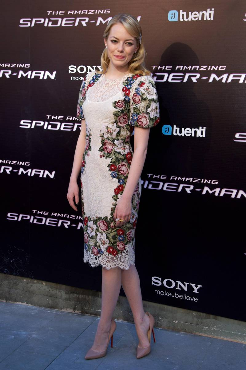 """MADRID, SPAIN - JUNE 21:  Actress Emma Stone attends """"The Amazing Spider-Man"""" premiere at Callao cinema on June 21, 2012 in Madrid, Spain.  (Photo by Carlos Alvarez/Getty Images)"""