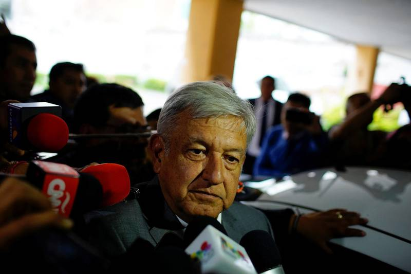 Mexican President-elect Andres Manuel Lopez Obrador speaks to journalists in Mexico City, Mexico, July 6, 2018. REUTERS/Alexandre Meneghini