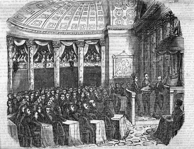(Original Caption) 3/4/1837-Inauguration of Martin Van Buren in the Senate Chamber, March 4, 1837.