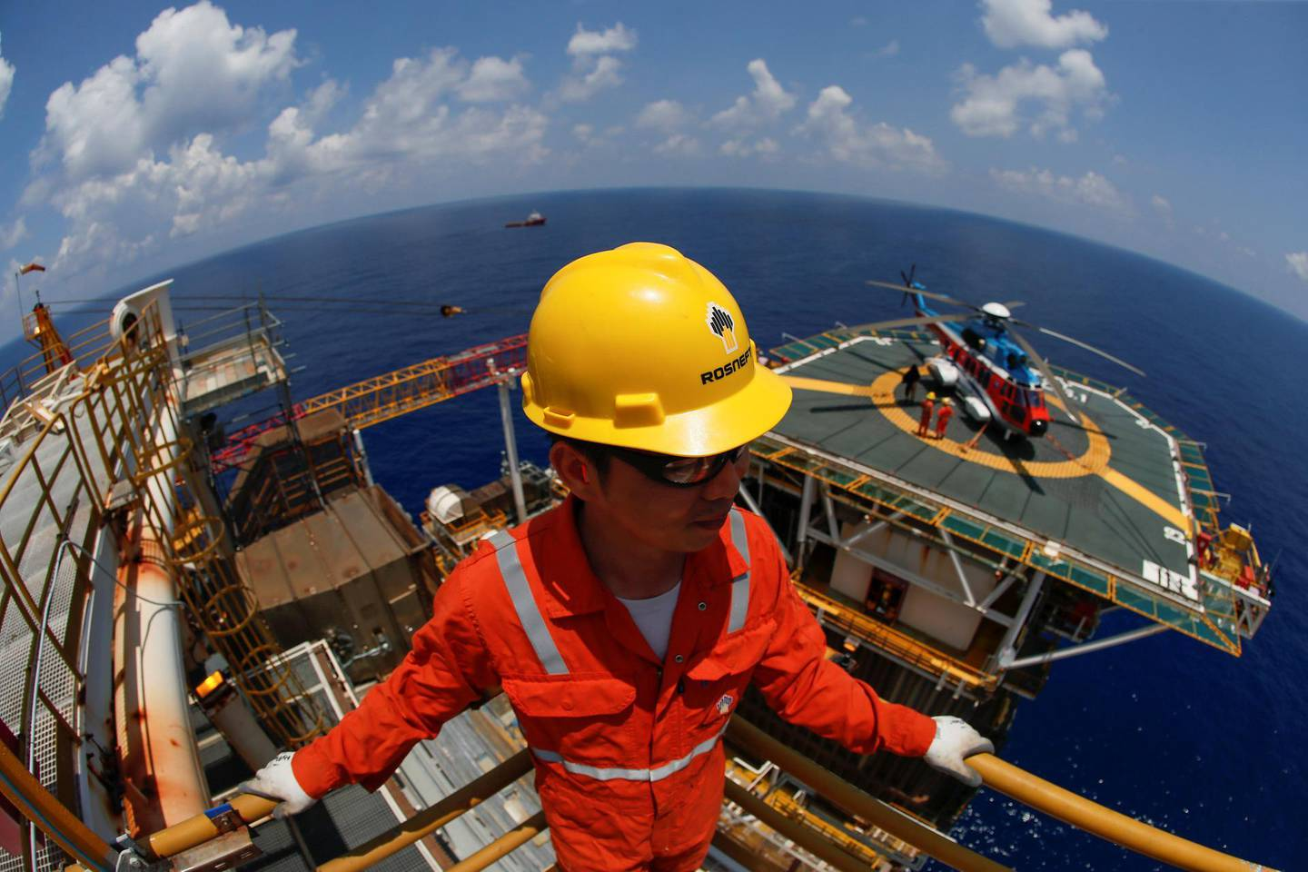 A Rosneft Vietnam employee looks on at the Lan Tay gas platform in the South China Sea off the coast of Vung Tau, Vietnam April 29, 2018. Picture taken April 29, 2018. REUTERS/Maxim Shemetov