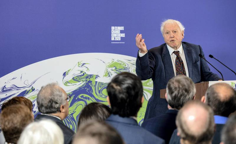 LONDON, ENGLAND - FEBRUARY 04: British broadcaster and naturalist Sir David Attenborough speaks during the launch of the UK-hosted COP26 UN Climate Summit, which is being held this autumn in Glasgow, at the Science Museum on February 4, 2020 in London, England. British Prime Minister Boris Johnson will reiterate the government's commitment to net zero by 2050 target and call for international action to achieve global net zero emissions. The PM is also expected to announce plans to bring forward the current target date for ending new petrol and diesel vehicle sales in the UK from 2040 to 2035, including hybrid vehicles for the first time. (Photo by Chris J Ratcliffe-WPA Pool/Getty Images)