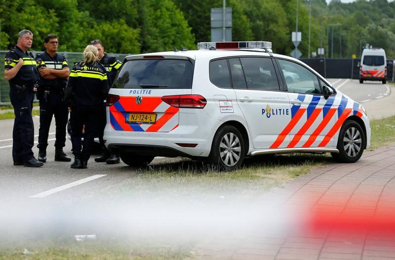 Police is seen near an incident scene where a van struck into people after a concert in Landgraaf, the Netherlands June 18, 2018. REUTERS/Thilo Schmuelgen