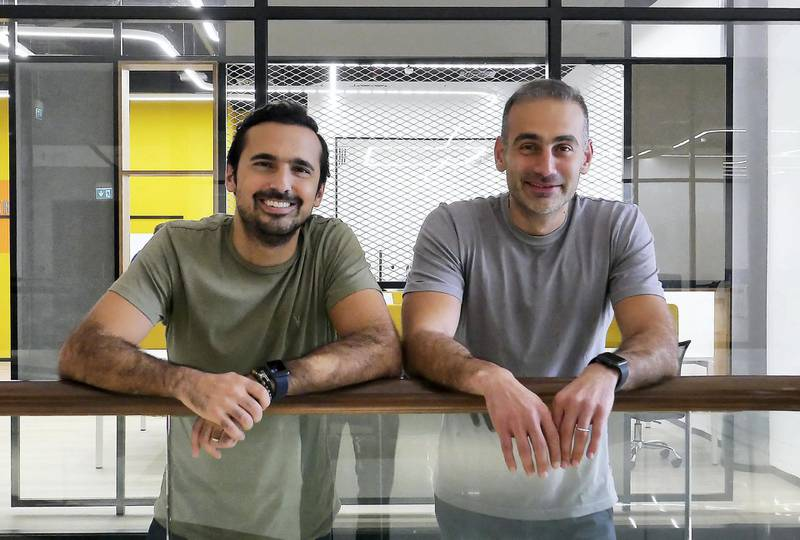 DUBAI, UNITED ARAB EMIRATES , March 4, 2021 –  Left to Right- Manar Mahmassani and Rami Tabbara, co-founder of Stake at the Gate Avenue in DIFC in Dubai. (Pawan Singh / The National) For Business. Story by David