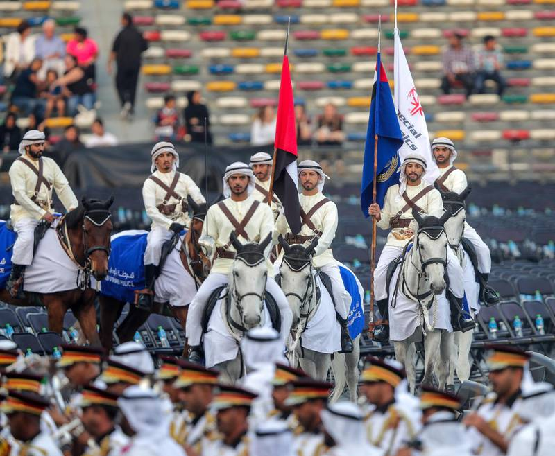Abu Dhabi, March 14, 2019.  Special Olympics World Games Abu Dhabi 2019 opening ceremony.--Abu Dhabi marching band with cavalry..Victor Besa/The National