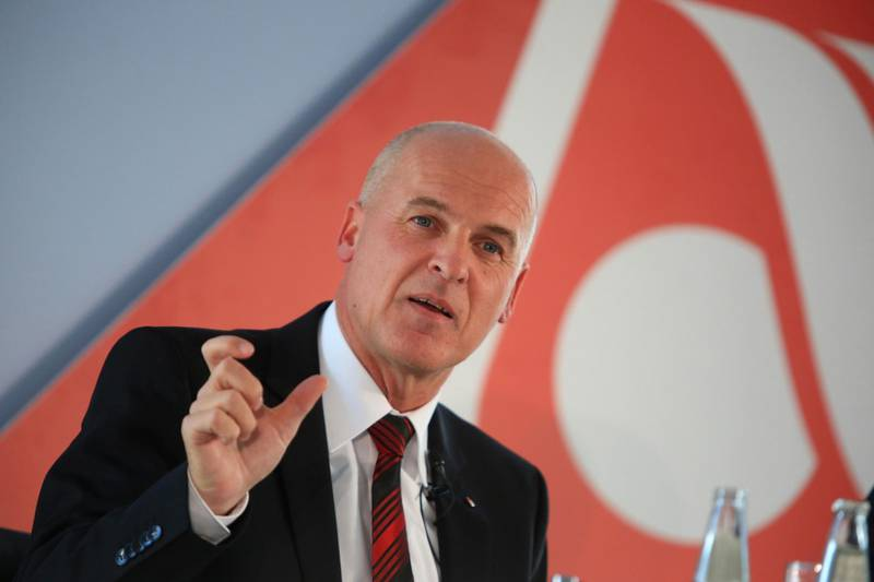 Stefan Pichler, chief executive office of Air Berlin Plc, gestures as he speaks during a news conference in Berlin, Germany, on Tuesday, March 3, 2015. Pichler, four weeks into taking charge, said he plans to return Germany's second-largest carrier to profit next year after reviewing costs and streamlining operations. Photographer: Krisztian Bocsi/Bloomberg *** Local Caption *** Stefan Pichler