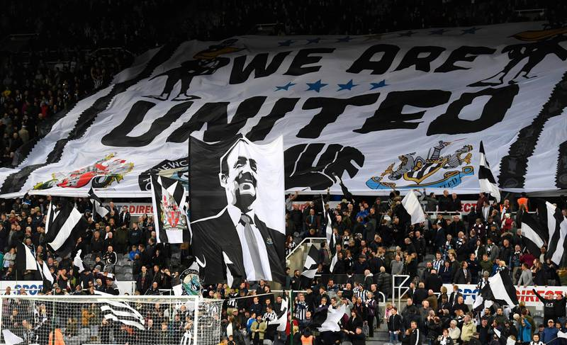 NEWCASTLE UPON TYNE, ENGLAND - APRIL 14:  Newcastle fans show off their flags and banners before the Sky Bet Championship match between Newcastle United and Leeds United at St James' Park on April 14, 2017 in Newcastle upon Tyne, England.  (Photo by Stu Forster/Getty Images)