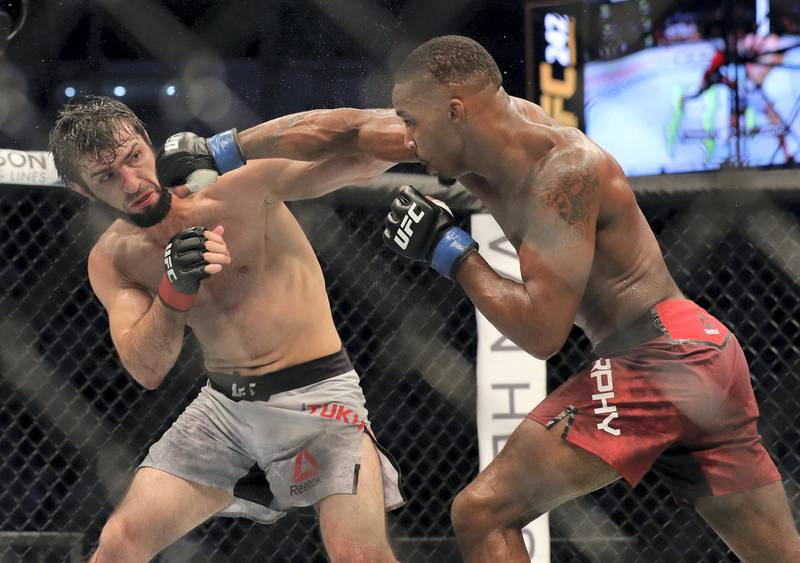Abu Dhabi, United Arab Emirates - September 07, 2019: Featherweight bout between Lerone Murphy (red shorts, draw) and Zubaira Tukhugov in the Prelims at UFC 242. Saturday the 7th of September 2019. Yas Island, Abu Dhabi. Chris Whiteoak / The National