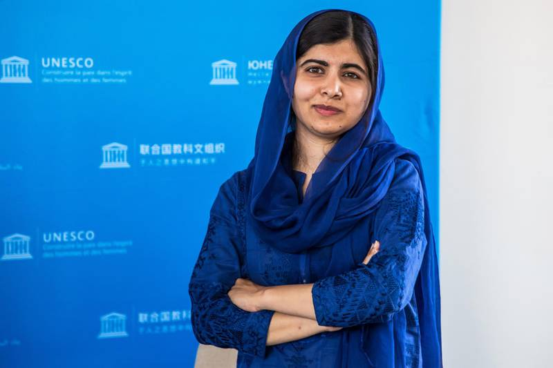 epa07697963 Nobel Peace Prize laureate Malala Yousafzai poses on the sidelines of the Education and development G7 ministers Summit, in Paris, France, 05 July 2019. France is hosting the rotating presidency of the G7 in 2019. The 45th G7 Summit will be held in August in Biarritz.  EPA-EFE/CHRISTOPHE PETIT TESSON / POOL