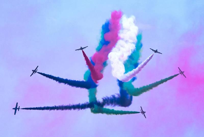 Abu Dhabi, United Arab Emirates, February 23, 2021.  Idex 2021 Day 3. Al Fursan  air display at the ADNEC Grandstand.Victor Besa / The NationalSection:  NA