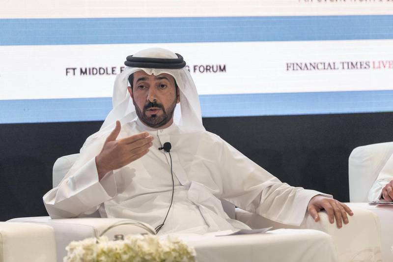 ABU DHABI, UNITED ARAB EMIRATES. 22 November 2017. Middle East Banking Forum at St Regis Saadiyat Island Resort. Panel session: Financing SME's in the UAE and lessons to be learned from other countries.H.E Mubarak Rashed Khamis Al Mansoori Governor UAE Central Bank. (Photo: Antonie Robertson/The National) Journalist: Mahmoud Kassem. Section: Business.