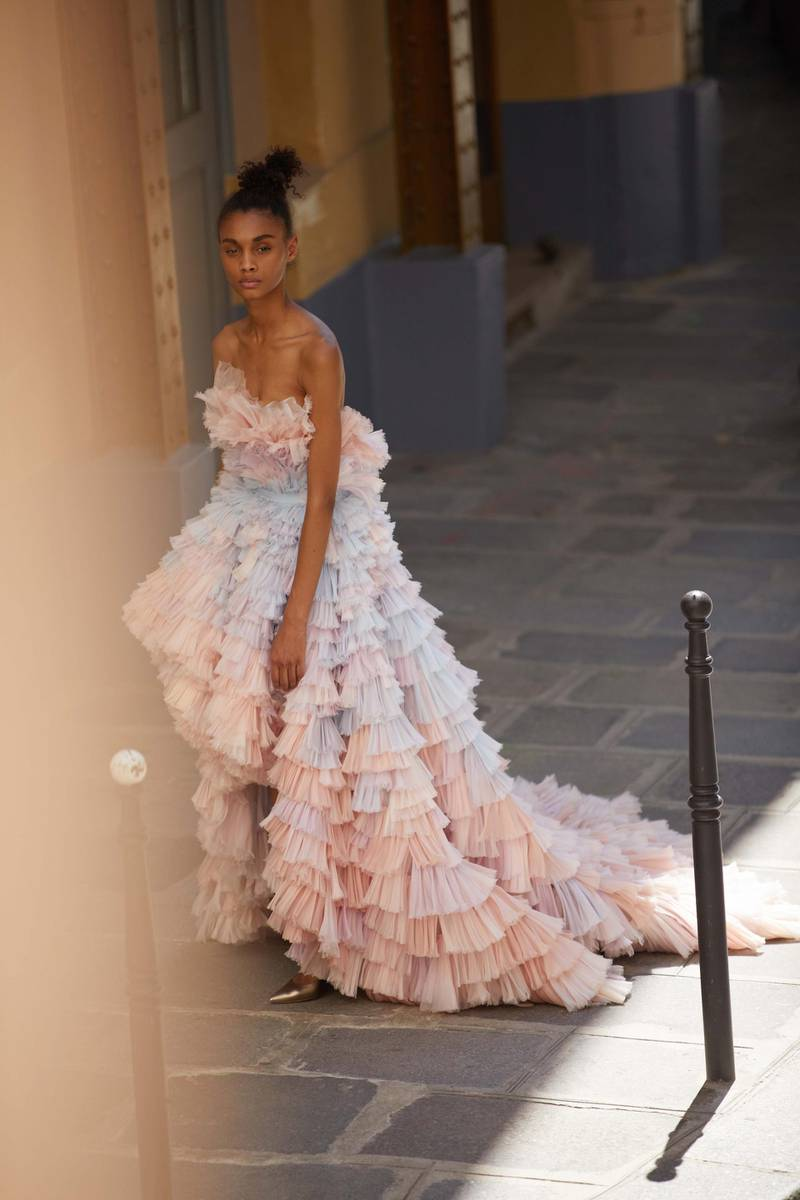 through the lens: Photography   Chantelle Dosser fashion director   Sarah MaiseyPink, peach, lavender and blue silk organza ballgown with a hand-pleated fan-frill appliqué, Ralph & Russo Haute Couture