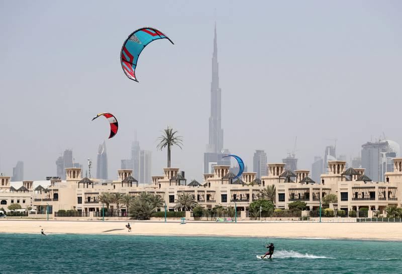 Dubai, United Arab Emirates - May 6th, 2018: Standalone. Kite surfing takes place on the beach. Sunday, May 6th, 2018 at Jumeriah Beach, Dubai. Chris Whiteoak / The National