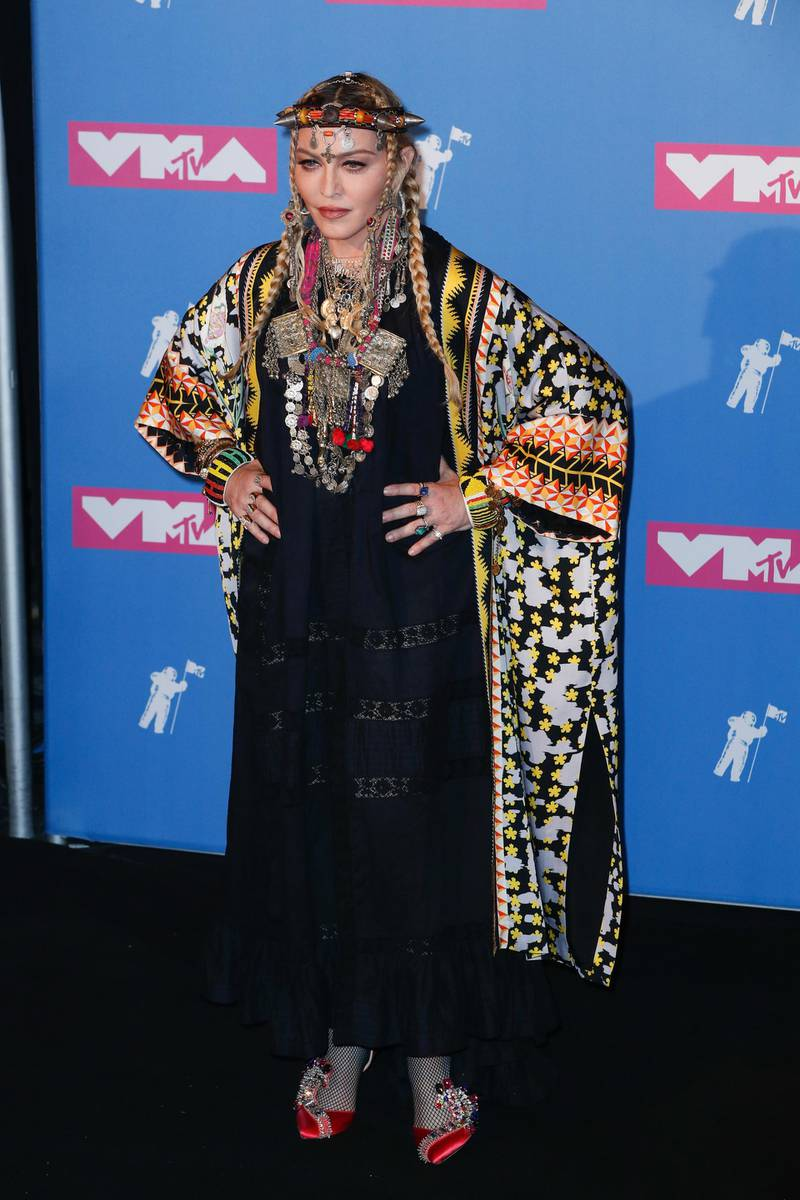 epa06961506 US singer-songwriter Madonna poses in the press room at the 2018 MTV Video Music Awards at Radio City Music Hall in New York, New York, USA, 20 August 2018.  EPA-EFE/JASON SZENES