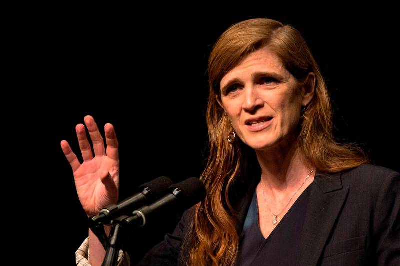 (FILES) In this file photo former US ambassador to the United Nations Samantha Power gives a speech at the Israel Middle East Model UN Conference on February 15, 2016 in the Israeli city of Even Yehuda. President-elect Joe Biden on January 13, 2021 nominated former ambassador Samantha Power, a forceful advocate of humanitarian diplomacy, to lead US foreign aid and elevated the position's role. Power, if confirmed as administrator of the US Agency for International Development (USAID), would sit on the National Security Council along with John Kerry, the former secretary of state tapped as climate envoy -- for the first time giving such prominence to the two issues.   / AFP / JACK GUEZ