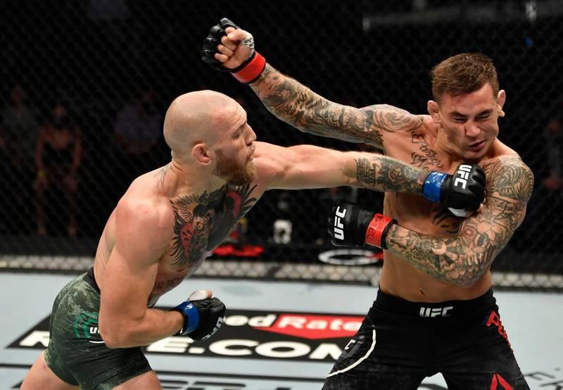 Conor McGregor lands a punch on Dustin Poirier. Jeff Bottari/Zuffa LLC