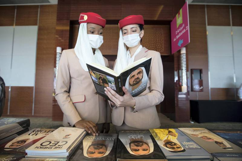 Duba, United Arab Emirates -  Emirates crew checking Sheikh Mohammed's book  at the Emirates Airline Festival of Literature at InterContentinental Hotel Dubai Festival City.  Leslie Pableo for The National for Razmig's story