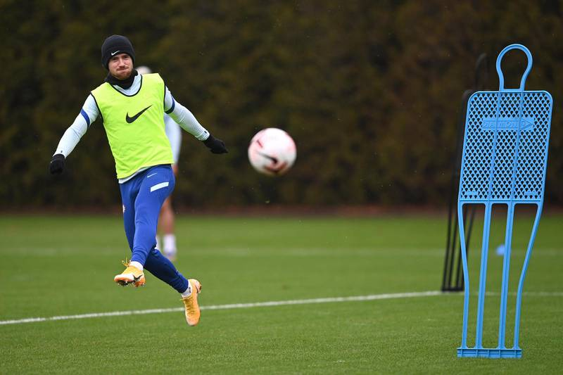 COBHAM, ENGLAND - DECEMBER 18:  Ben Chilwell of Chelsea during a training session at Chelsea Training Ground on December 18, 2020 in Cobham, England. (Photo by Darren Walsh/Chelsea FC via Getty Images)