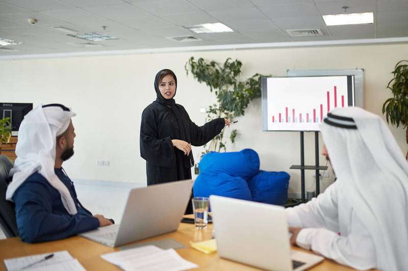 Confident businesswoman giving presentation in office. Mid adult professional is explaining financial chart to colleagues. She is in traditional clothing.