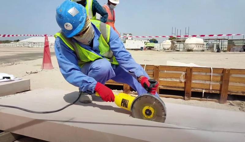 Screen grab of Construction Update of BAPS Hindu Mandir, Abu Dhabi.
