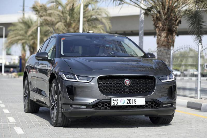 Dubai, United Arab Emirates - October 15, 2019: A Jaguar I Pace autonomous vehicle takes people on a drive to show driverless cars at work at the Dubai World Congress for Self-Driving Transport. Tuesday the 15th of October 2019. World Trade centre, Dubai. Chris Whiteoak / The National